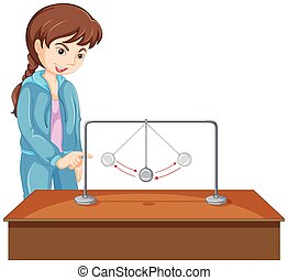Girl experiment with gravity ball illustration