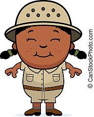 Girl Explorer - A cartoon illustration of a girl explorer...