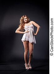 girl, exposition, strip-tease, sexy, blanc, peignoir