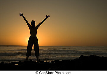 freedom - Girl expresses her freedom at La Santa beach in...