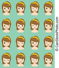girl, expression, facial