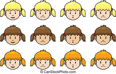 Girl Expressions - A variety of cartoon girl faces and...