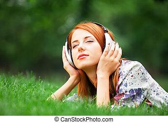 girl, extérieur, écouteurs