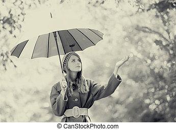 girl, extérieur, parapluie