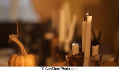 Girl extinguished candles