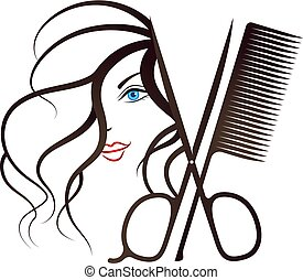Girl face and scissors with comb