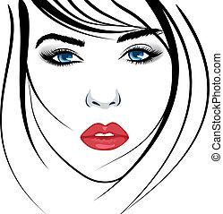 girl, face., beauté