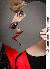 girl, face., elle, dissimulation