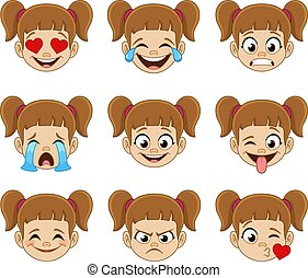 Girl face emoji expressions