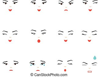 Girl face expressions, emotions. Woman, female emoji set, design elements