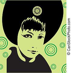 Girl Face Green