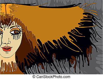 Girl Face Hair Banner
