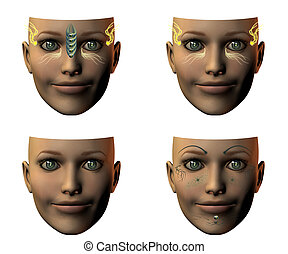 girl face in 3D