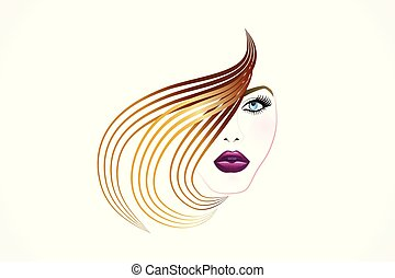Girl face logo vector