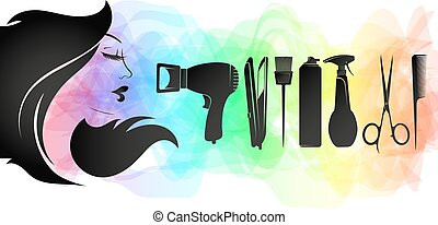 Girl face silhouette with curls of hair