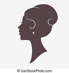Girl Face Silhouette with Stylish Hairstyle