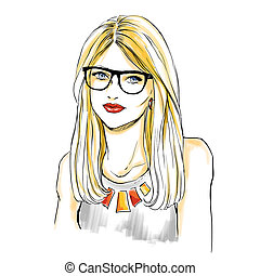 Girl face with makeup and glasses