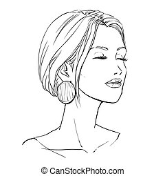 Closeup portrait of beautiful young woman. Freehand drawing. Vector image
