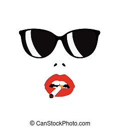 girl face with sunglasses color illustration