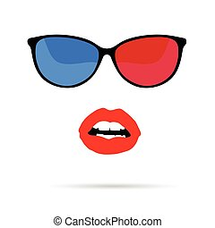 girl face with sunglasses illustration
