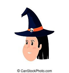 girl face with witch hat