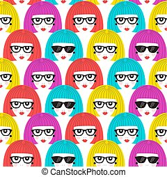 Girl faces seamless pattern.