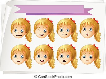 Girl faces with different emotions