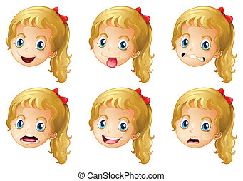 Girl faces with various expressions - Illustration of girl...