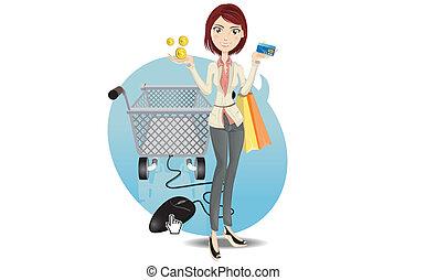 girl, faire courses ligne
