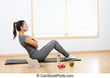 girl, faire, sport, exercices