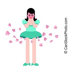 Girl fart butterfly. Woman farting. Vector illustration