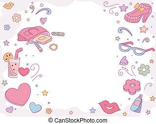 Background Illustration of Girl Fashion Items