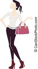 Girl Fashion Bag Stencil