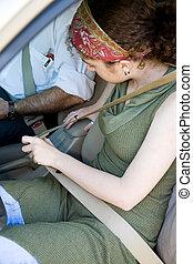 G?irl Fastens Seatbelt