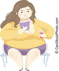 Girl Fat Positivity Read Book Illustration