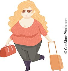 Girl Fat Positivity Travel Illustration