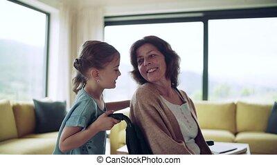 girl, fauteuil roulant, personne agee, elle, petit, grand-mère, home., intérieur