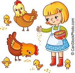 Girl feeding hens and chickens.