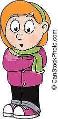 Girl feeling freezy .eps 10 cartoon illustration