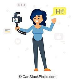 girl., felice, illustrazione, blogger
