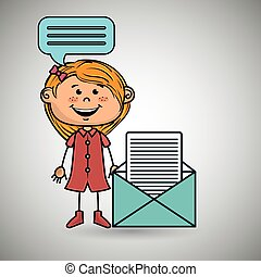 girl female message chat vector illustration graphic