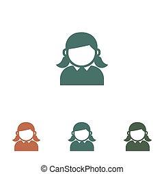 girl, femme, blanc, femme, icône, isolé, fond