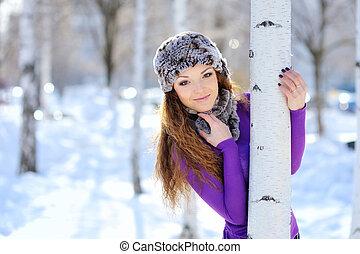 girl, femme, noël, hiver