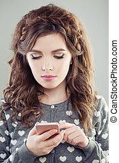 girl, femme, texting, smartphone., joli
