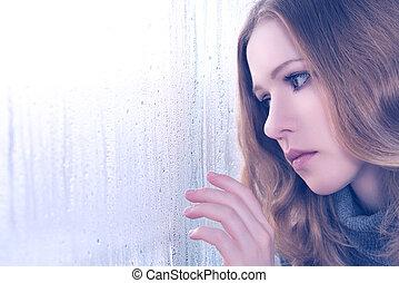 girl, fenêtre, tristesse, pluie