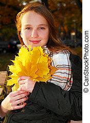 girl, feuilles, automne