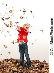 girl, feuilles, enfant