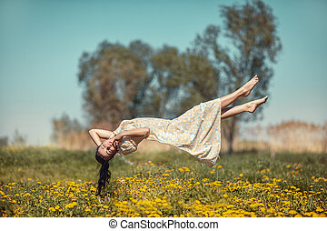 girl, field., sur, hovers