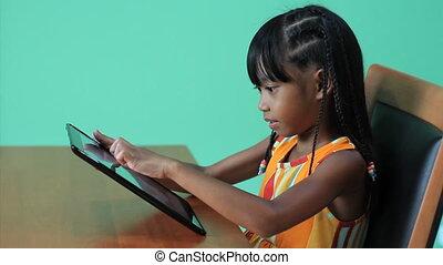 girl, fier, asiatique, tablette, numérique