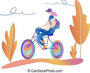 girl., fiets te rijden, bike., wandeling